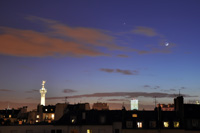 Jupiter and moon over Paris, Bastille